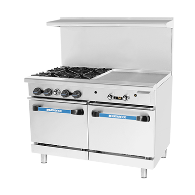 "superior-equipment-supply - Turbo Air - Turbo Air 48"" Wide Stainless Steel Gas Restaurant Range With 48"" Griddle"