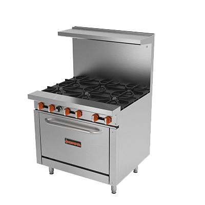 "superior-equipment-supply - MVP Group - Sierra Stainless Steel Six Burner 36"" Wide Gas Range"