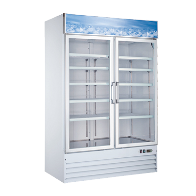 Omcan Coated Steel Exterior Reach-In Freezer Merchandiser 45 cu. ft.