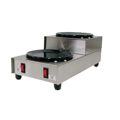 Grindmaster Cecilware Coffee Warmer, Step-Up, (2) Black Warmers, Manual Controls, Stainless Steel Body