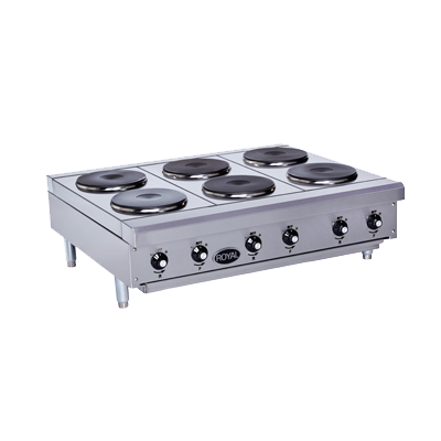 "superior-equipment-supply - Royal Range of Callifornia - Royal Range Stainless Steel Electric Countertop Solid Top Hotplate 12""W"