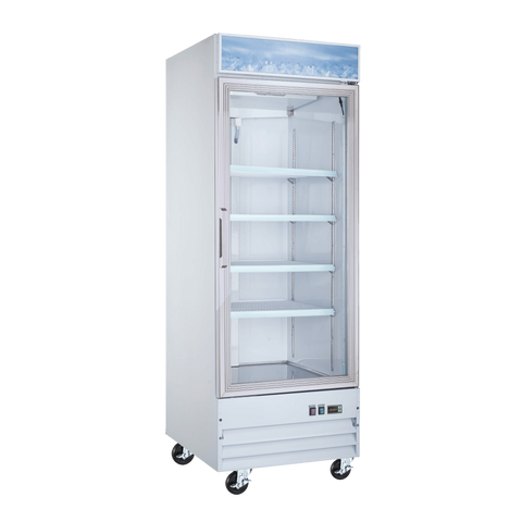 "Omcan 31"" Wide Painted Steel Exterior Reach-In Glass Door Freezer 23 cu ft. With Four Shelves"