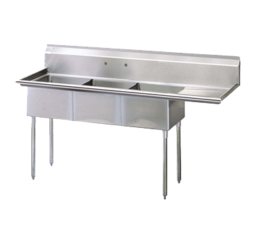 "superior-equipment-supply - Turbo Air - Turbo Air 99"" Wide Stainless Steel Three Compartment Sink"