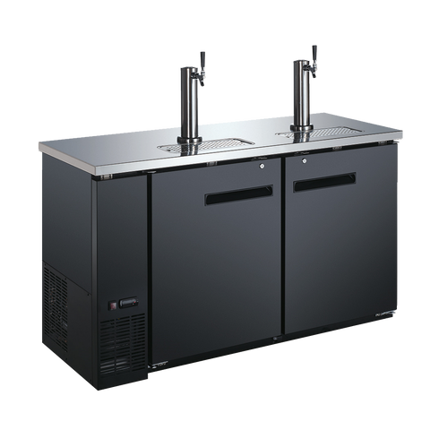 "Omcan 60.8"" Wide (2) Tap & (1) Keg Capacity Draft Beer Cooler"