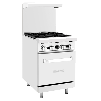 "superior-equipment-supply - Migali - Migali 24""W Stainless Steel Four Burner Liquid Propane Gas Range"