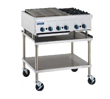 "superior-equipment-supply - Royal Range Of California - Royal Range Two Burner Stainless Steel Countertop Gas Charbroiler/Hotplate 48""W"