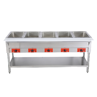 "Omcan 72"" Wide Electric Hot Food Table With (5) 12.8"" x 20.78"" x 6"" Food Wells"