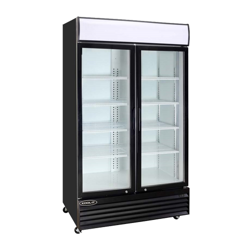 superior-equipment-supply - MVP Group - Kool-It Black Powder-Coated Two Section Two Glass Door Refrigerated Merchandiser -