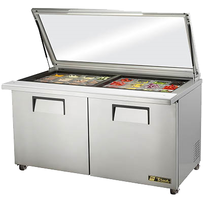 "superior-equipment-supply - True Food Service Equipment - True Stainless Steel Two Door Mega Top Sandwich/Salad Unit 60""W"