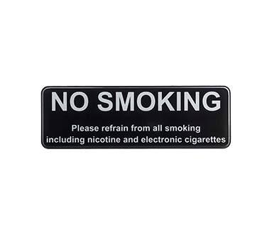 "Tablecraft  Cash & Carry Sign ""No Smoking, Please Refrain From All Smoking Including Nicotine And Electronic Cigarettes"""