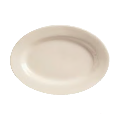 "superior-equipment-supply - World Tableware Inc - World Tableware Princess Oval Platter Rolled Edge Cream White Stoneware 12-1/2"" x 9"" - 12/Case"