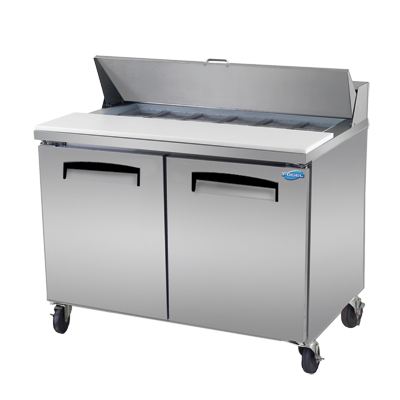 "Fogel 45"" Wide Two-Section Sandwich Prep Table With 11.6 cu. ft. Capacity"