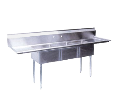 "superior-equipment-supply - Turbo Air - Turbo Air 120"" Wide Stainless Steel Three Compartment Sink"