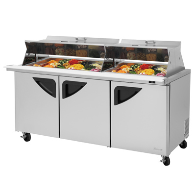 "superior-equipment-supply - Turbo Air - Turbo Air 72.6"" Wide Stainless Steel Three-Section Sandwich/Salad Mega Top Unit"