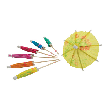 "Umbrella Cocktail Picks 3-15/16"" Wood - 144/Bag"