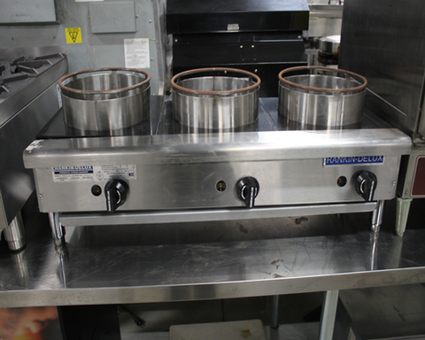 Used Rankin Delux Three Burner Side By Side Wok Gas Countertop Range