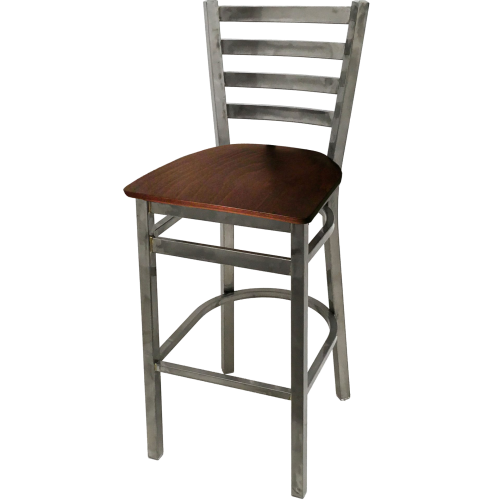"Oak Street Ladder Back Bar Stool 43""H x 16""W x 16.38""D Steel Clear Coat Frame Finish With Footrest"