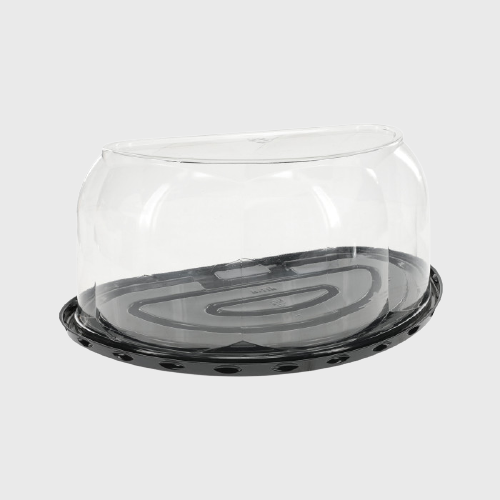 "RPET Plastic Clear Cake Dome & Black Base for 1/2 8"" Cakes 8""W x 8""D x 5.25""H YHRB500R100 - 100/Case"