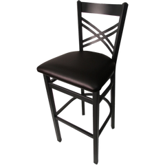"Oak Street Cross Back Bar Stool 43""H x 16""W x 16.38""H Black Steel Frame With Non-Marring Poly Glides"