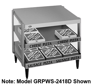 "Hatco Glo-Ray® Pass-Thru Countertop 24"" x 24"" Pizza Warmer Double Slant Shelf Stainless Steel & Aluminum Construction"