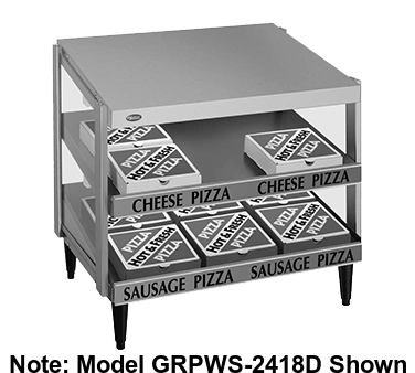 "Hatco Glo-Ray® Pass-Thru Countertop 36"" x 18"" Pizza Warmer Double Slant Shelf Stainless Steel & Aluminum Construction"
