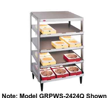 "Hatco Glo-Ray® Pass-Thru Countertop 48"" x 18"" Pizza Warmer Quad Slant Shelf Stainless Steel & Aluminum Construction"