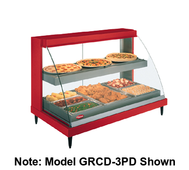 "Hatco Glo-Ray® Designer Countertop Curved Glass Heated Display Case 45.5""W Dual Shelves Stainless Steel"