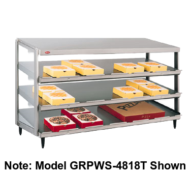"Hatco Glo-Ray® Pass-Thru Countertop 48"" x 18"" Pizza Warmer Triple Slant Shelf Stainless Steel & Aluminum Construction"