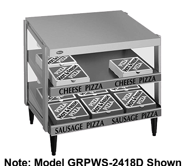 "Hatco Glo-Ray® Pass-Thru Countertop 48"" x 18"" Pizza Warmer Double Slant Shelf Stainless Steel & Aluminum Construction"