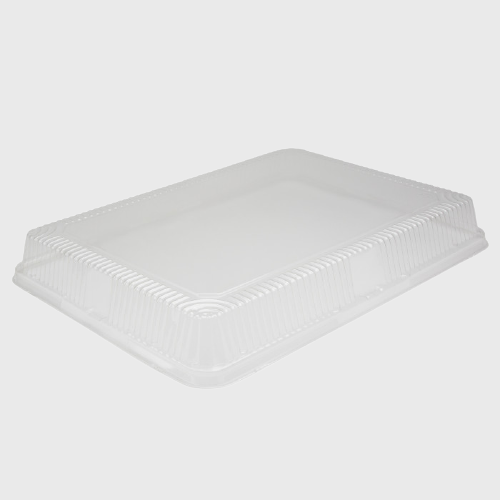 "Clear OPS-HIPS Plastic Dome Lid for 1/2 Size Sheet Cake Pan 18 1/6""W x 13 1/4""D x 2 1/4""H 2063DL - 100/Case"