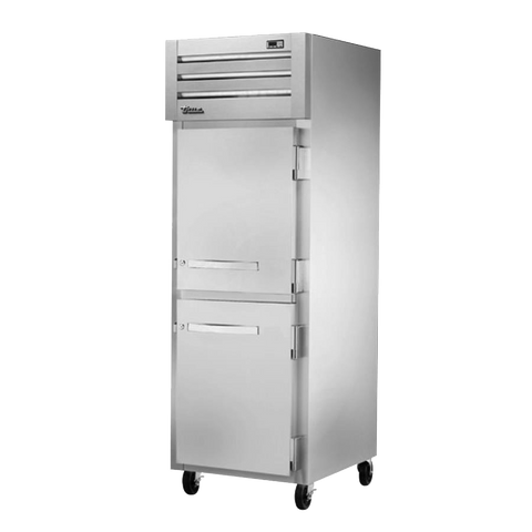 "True Stainless Steel One Section Two Solid Half Door Reach-in Freezer 27.5""W"