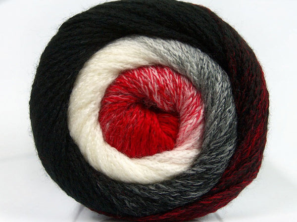 200g NoNA WooL Cake Red White Black Strickwolle Ice Yarns - Hungariana Garn und Strickwolle Online Shop