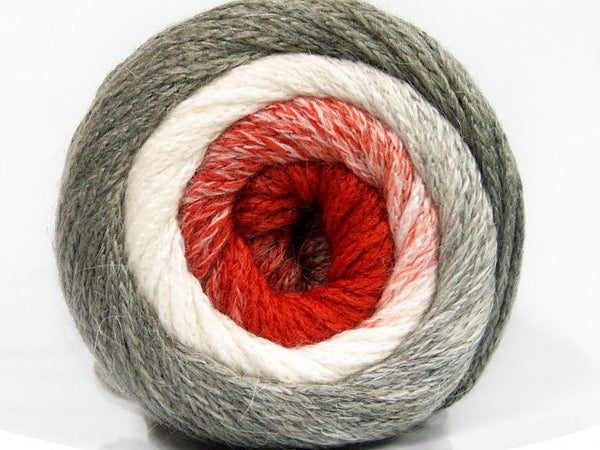 200g NoNA WooL Cake Gray White Orange Strickwolle Ice Yarns - Hungariana Garn und Strickwolle Online Shop