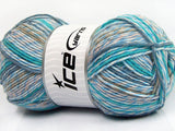 100g Baby Print Turquoise Camel Blue Shades Beige Ice Yarns Strickwolle Ice Yarns - Hungariana Garn und Strickwolle Online Shop