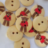 8 Holzknöpfe Wooden buttons TEDDY 15mm