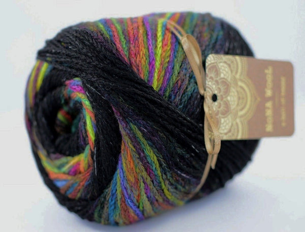 200g NoNA WooL Cake Black Rainbow Strickwolle Ice Yarns - Hungariana Garn und Strickwolle Online Shop