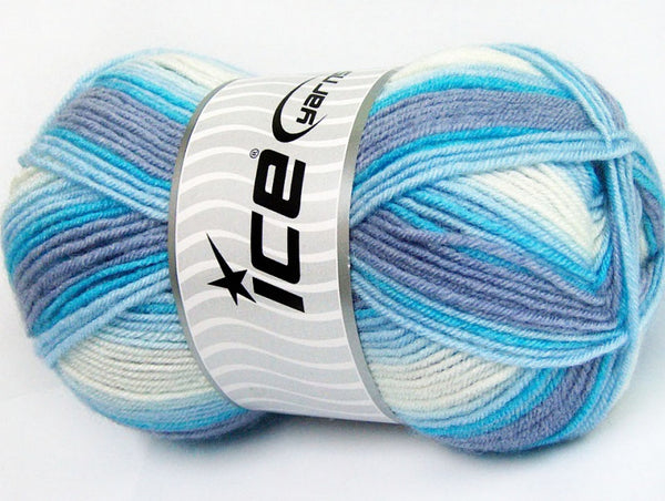 100g Baby Wool Design White Violet Blue Strickwolle Ice Yarns - Hungariana Garn und Strickwolle Online Shop