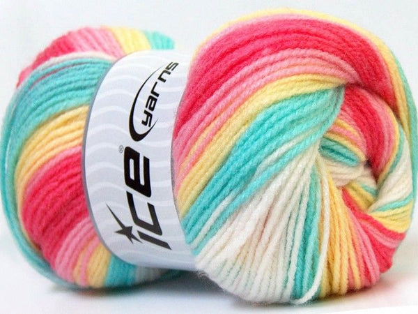 100g Baby Batik Yellow White Pink Mint Green Fuchsia Ice Yarns Strickwolle Ice Yarns - Hungariana Garn und Strickwolle Online Shop