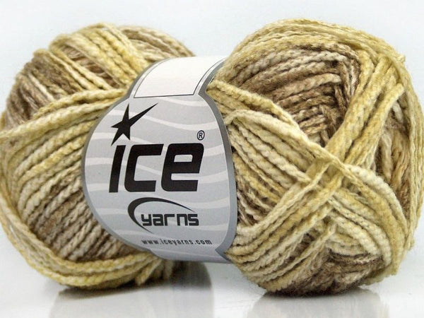 50g Chainette Wool Color Light Green Cream Camel Ice Yarns Strickwolle Ice Yarns - Hungariana Garn und Strickwolle Online Shop