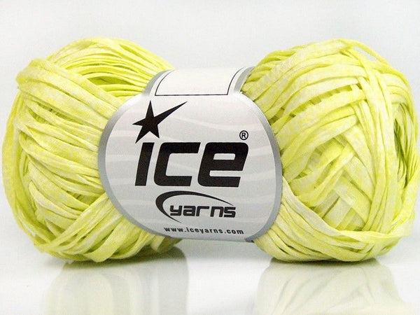 50g Cotton Tape Print White Neon Yellow Ice Yarns Strickwolle Ice Yarns - Hungariana Garn und Strickwolle Online Shop