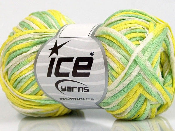 50g Fettuccia Cottonac Yellow White Green Ice Yarns Gelb Weiss Grün Strickwolle Ice Yarns - Hungariana Garn und Strickwolle Online Shop