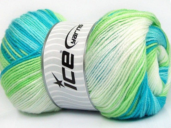 100g Magic Baby White Green Blue Shades Ice Yarns Weiss Blau Grün Strickwolle Ice Yarns - Hungariana Garn und Strickwolle Online Shop