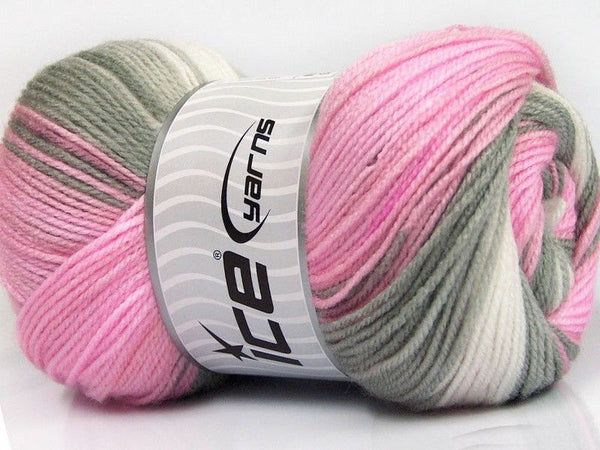 100g Magic Baby White Pink Grey Ice Yarns Weiss Rose Grau Strickwolle Ice Yarns - Hungariana Garn und Strickwolle Online Shop