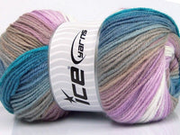 100g Magic Light White Lilac Blue Shades Beige Ice Yarns Strickwolle - Fest Keks Lebkuchen & Keks für jede Feier