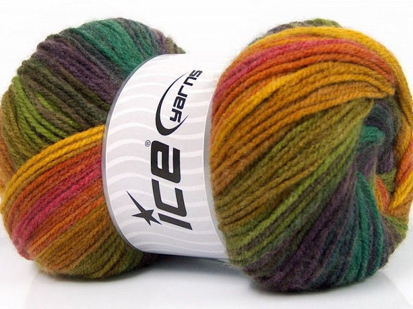 100g Magic Light Yellow Purple Shades Pink Green Shades Strickwolle - Fest Keks Lebkuchen & Keks für jede Feier