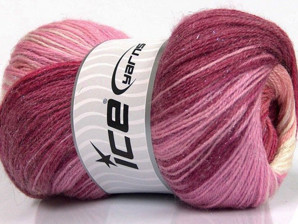 100g Mohair Magic Glitz Salmon Pink Shades Maroon Cream Ice Yarns Strickwolle - Fest Keks Lebkuchen & Keks für jede Feier