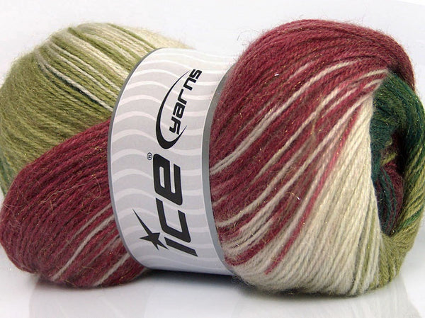 100g Mohair Magic Glitz White Green Shades Burgundy Ice Yarns Strickwolle - Fest Keks Lebkuchen & Keks für jede Feier