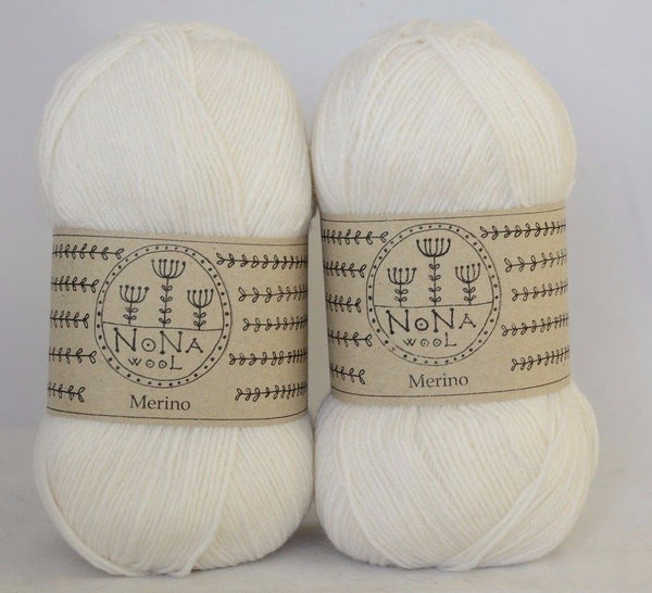 100g NoNA WooL Merino White Strickwolle Ice Yarns - Hungariana Garn und Strickwolle Online Shop
