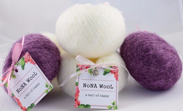 180g NoNA WooL Mohair Lace Pearl White and Lavender Strickwolle Ice Yarns - Hungariana Garn und Strickwolle Online Shop