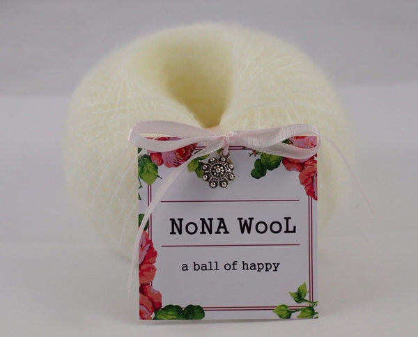 30g NoNA WooL Mohair Lace Pearl White Perle Weiss Strickwolle Ice Yarns - Hungariana Garn und Strickwolle Online Shop